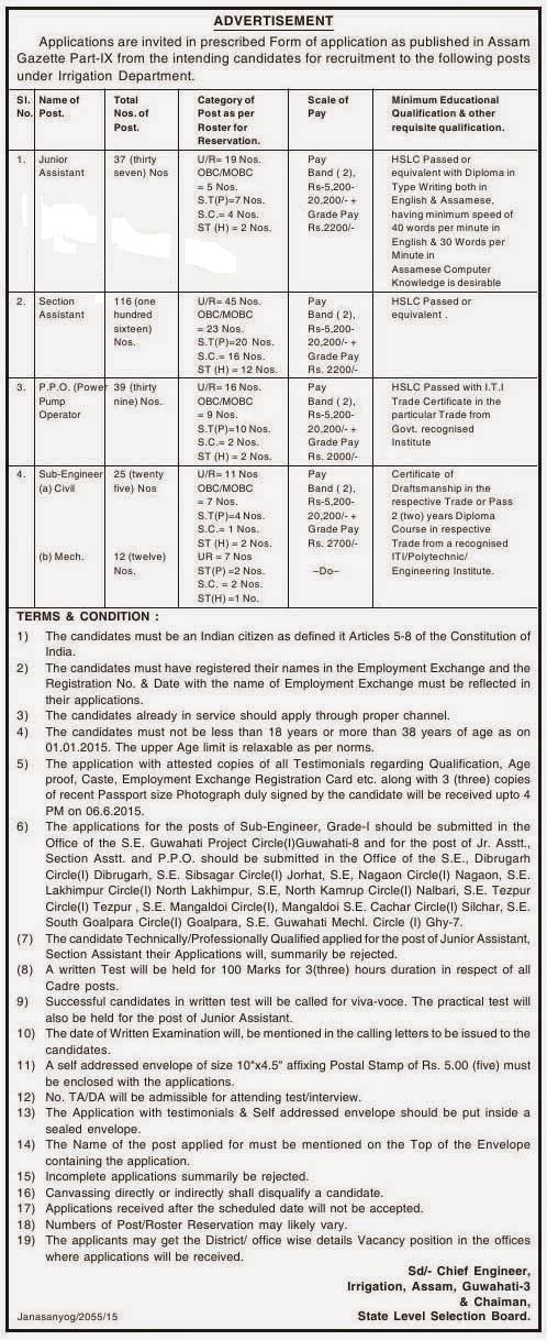 Assam Section Assistant Recruitment 2015