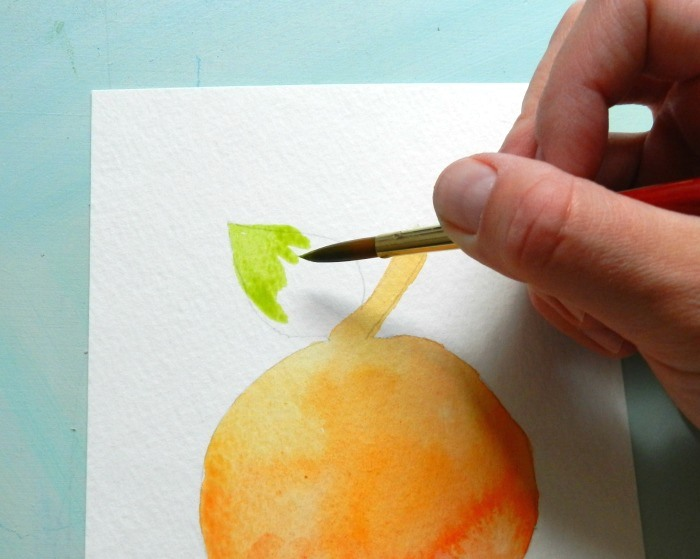 How to paint a peach in watercolor, free template and tutorial by Grow Creative.