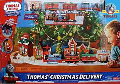 Thomas locomotives light up Christmas tree toy train shop replica school building railway station