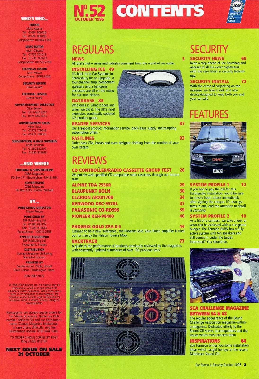 Image of British Car Stereo & Security magazine's no. 52 index page.