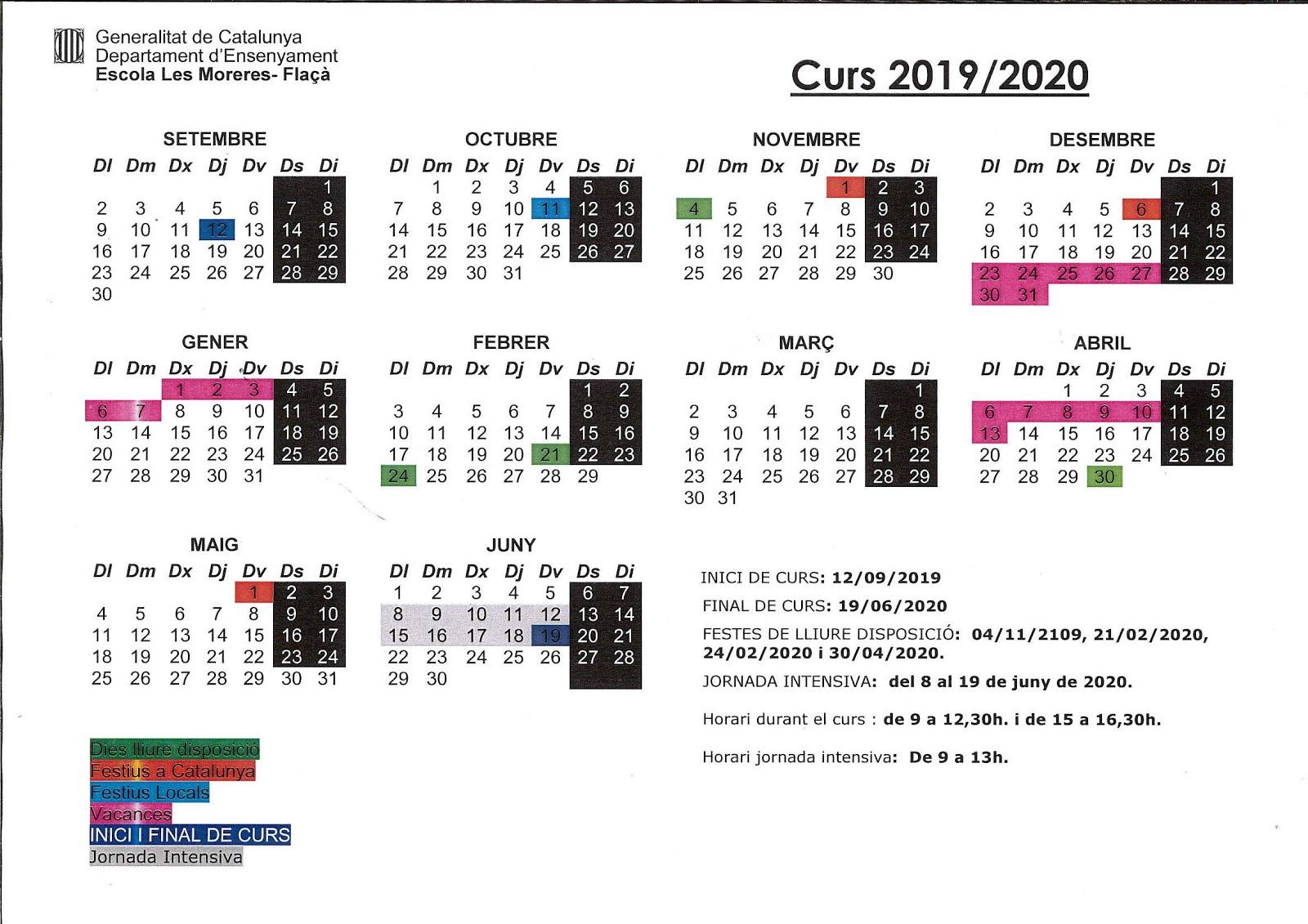 Calendari curs 2019-2020