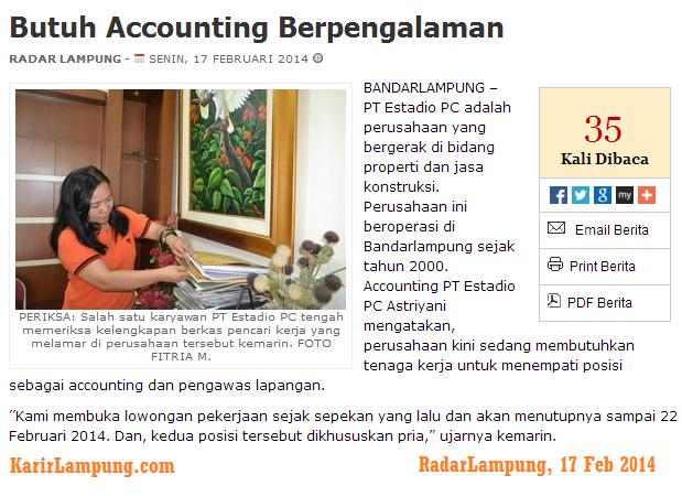 Lowongan Accounting & Pengawas Lapangan  PT. Estadio PC Bandar Lampung