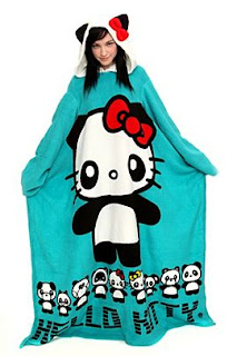 Hello Kitty Panda snuggie warm cozy throw with sleeves and ears