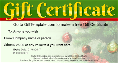 Christmas Gift Certificate Template Tree Decorations