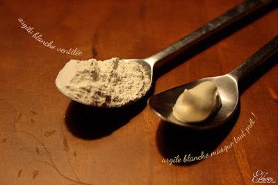 deux textures argile blanche poudre et pâte