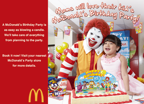 McDonalds Birthday Party Package
