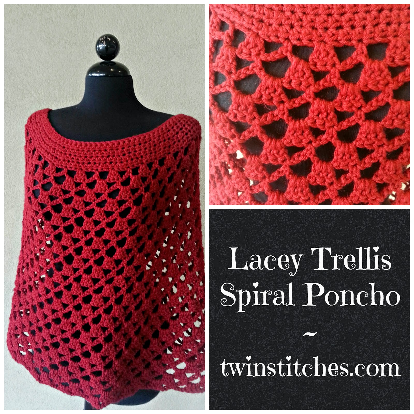 Tw-In Stitches: Lacey Trellis Poncho - Spiral Version ...