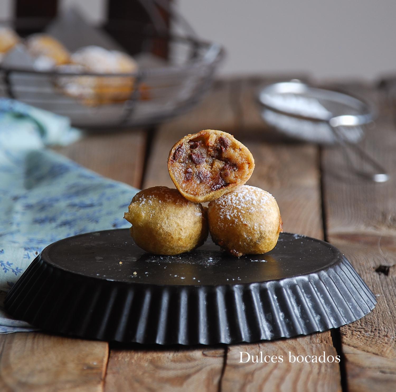 Buñuelos de chocolate chip cookies - Dulces bocados