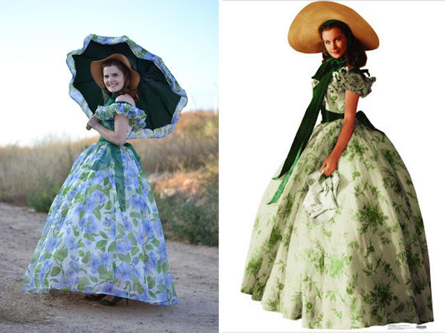 Scarlett O'Hara, barbecue dress, green flowers, sun hat, umbrella