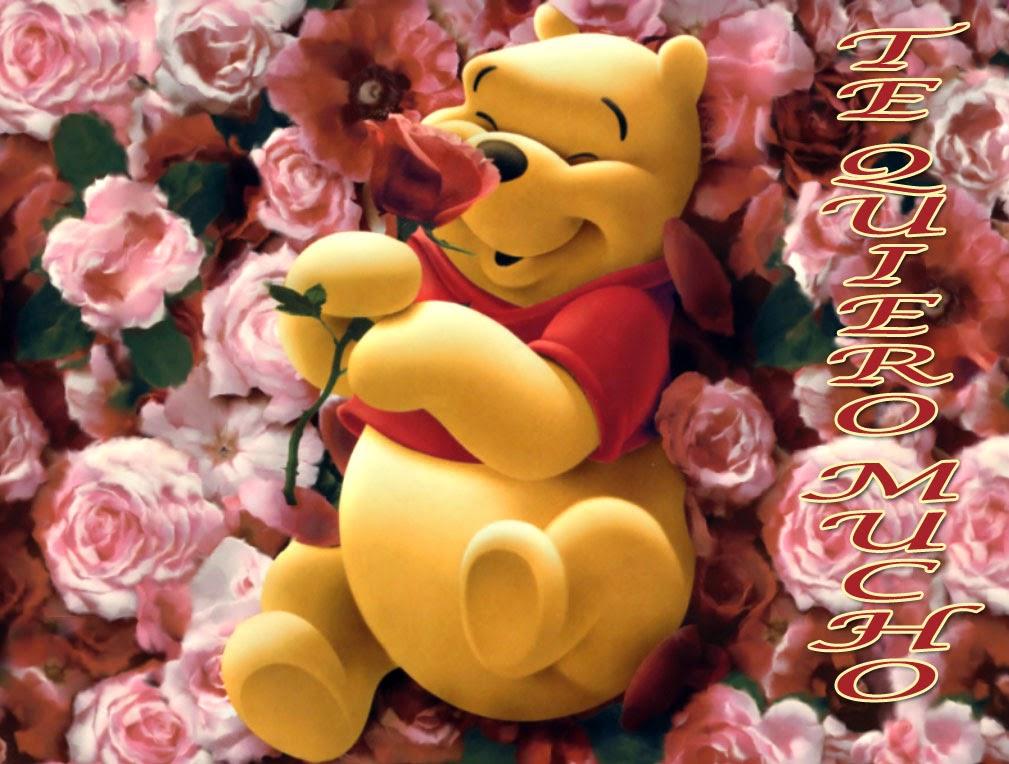 Winnie the Pooh dentro de rosas con la frase te quiero