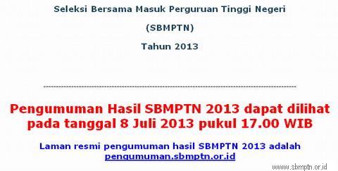 Pengumuman Hasil SBMPTN 2013 Pada Tanggal 8 Juli 2013