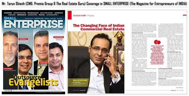 Mr. Tarun Shienh (CMD Premia Group & The Real Estate Guru) Coverage in SMALL ENTERPRISE Magazine
