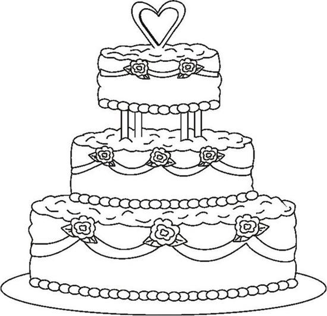 Cake Images For Colouring : Printable Wedding Cake Coloring Pages Cooloring.com