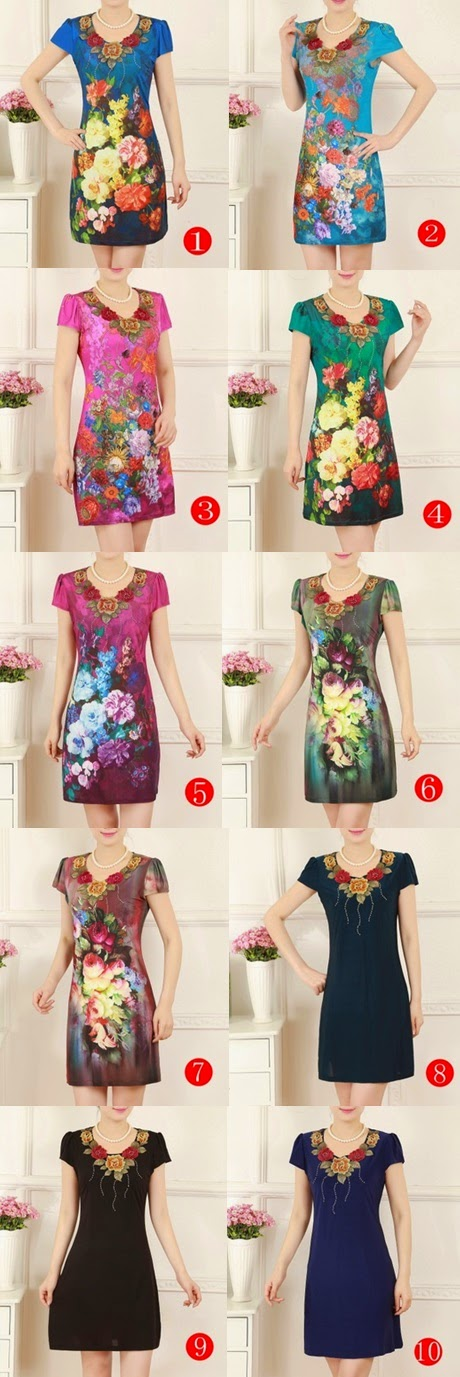 Rose Embroidery Collar Vintage Print Midi Dress