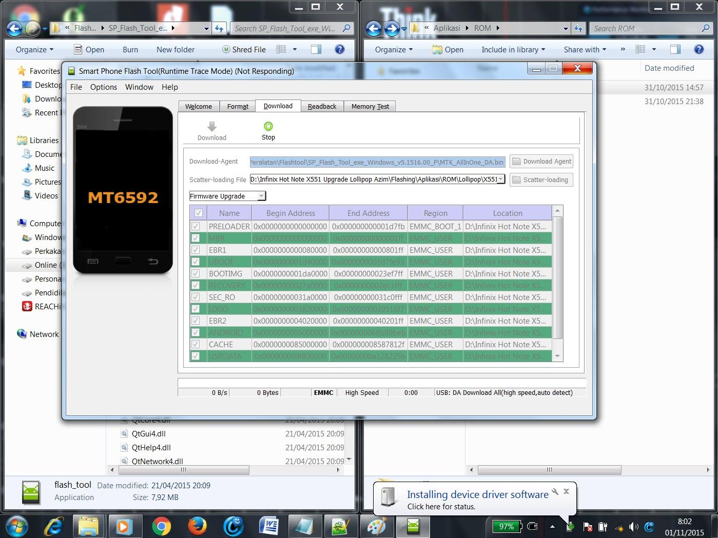 Identifikasi Infinix Hot Note X551 Oleh Aplikasi Flashtool