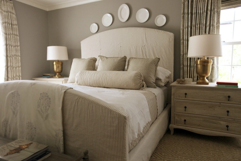 coastal romantic taupe and white bedroom