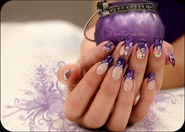 Фото фиолетового маникюра с рисунком