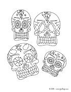 Dibujos para el día de muertos (group of different mexican decorated skulls tb jy)