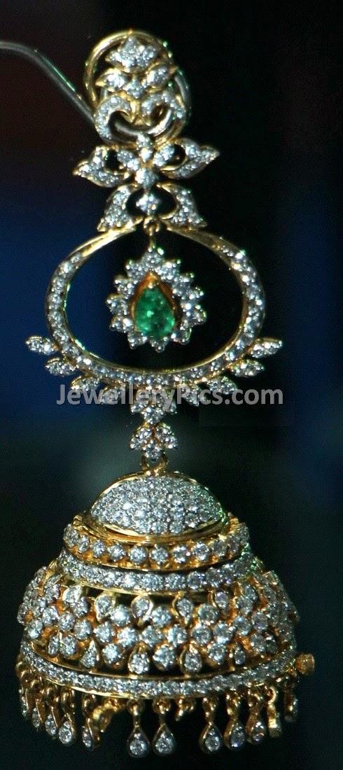stylish emeraled stoned diamond jumkha