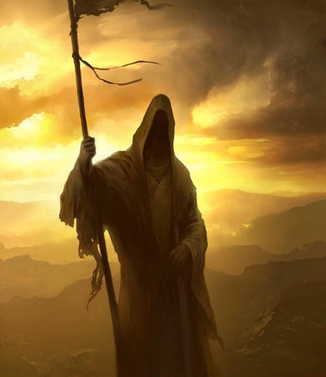 Imagen de un ser siniestro, encapuchado, pareciera la muerte sisteniendo una lanza, con el ocaso de fondo.