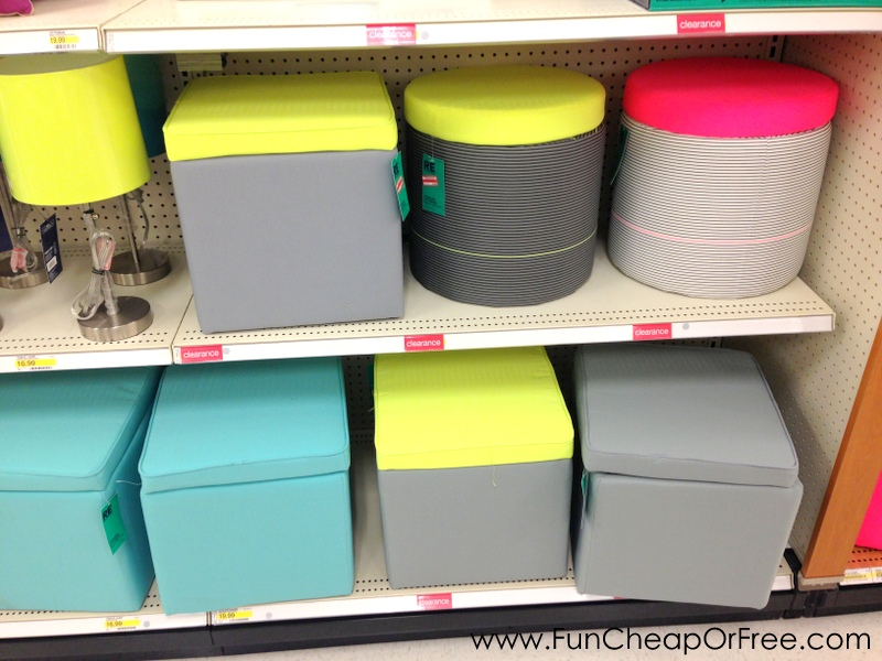 was the grey storage ottoman I got for 1/2 off. Regularly $20, got it for  $10. It's perfect for the #PageOfficeTakeover that's happening right now! - Great Summer Clearance At Target Right Now! - Fun Cheap Or Free