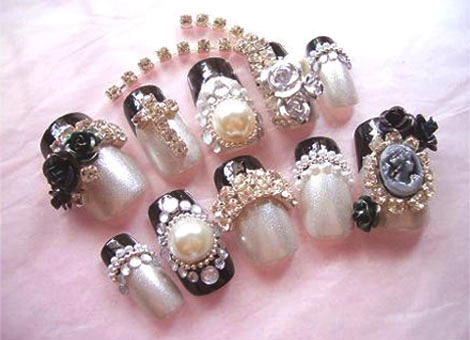... Nail Art: Wedding Nail Art Designs - Beads and Crystals Designed Nail