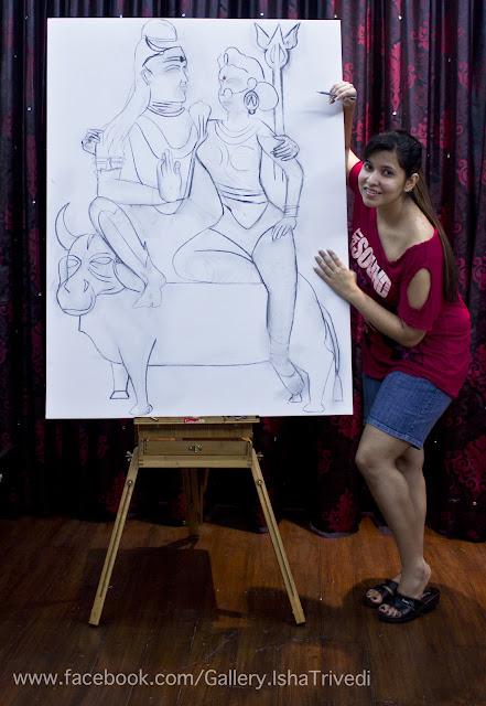 "Painting SHIVA-PARVATI by Isha Trivedi ""Isha Trivedi"""