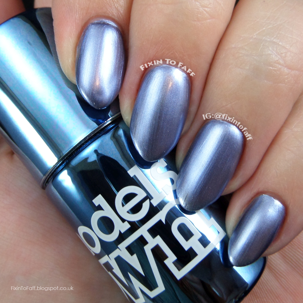 Swatch and review of Models Own Colour Chrome collection, Chrome Indigo