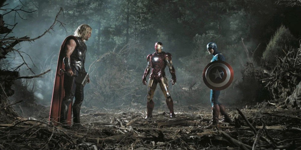 Chris Hemsworth, Robert Downey Jr. e Chris Evans em OS VINGADORES - THE AVENGERS (The Avengers)