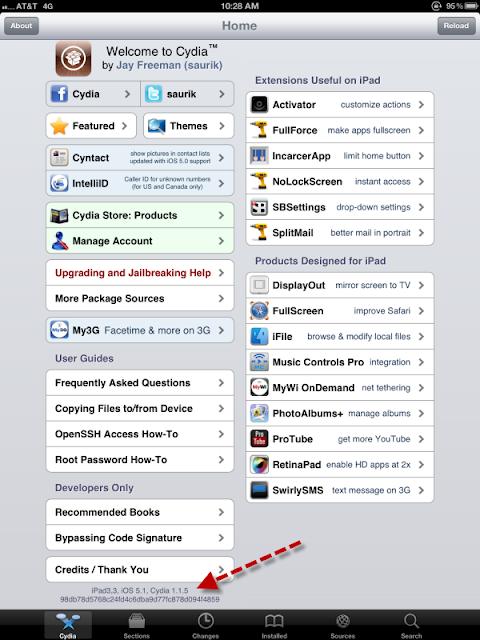 Jailbroken iPad 3, iOS 5.1 Cydia 1.1.5