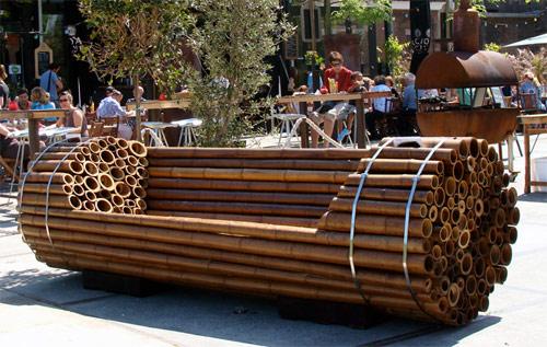 mobiliario jardim area:anatomia arquitetônica: Mobiliário Urbano / Banco de Jardim de Bambu