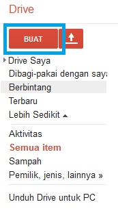 tampilan pembuka dari Google drive sidebar