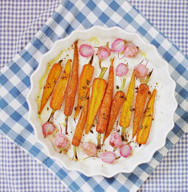 Pieczone rzodkiewki marchewki