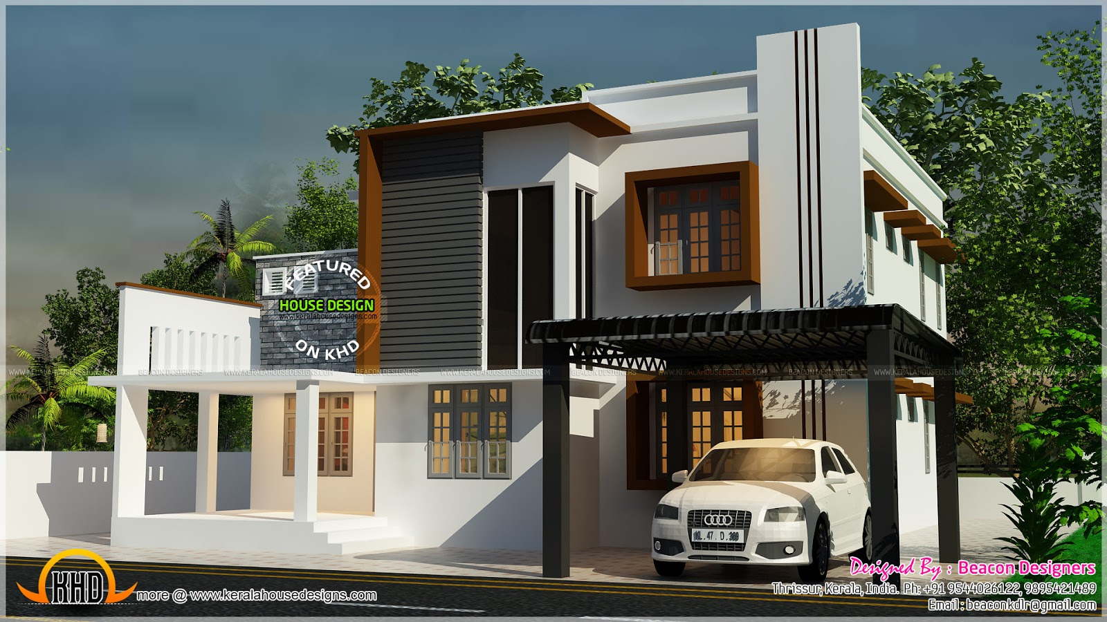 Double Floor Modern Elevation : Double storied contemporary villa kerala home design and