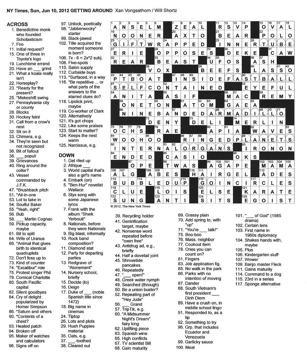 The New York Times Crossword In Gothic 06 10 12 Getting Around