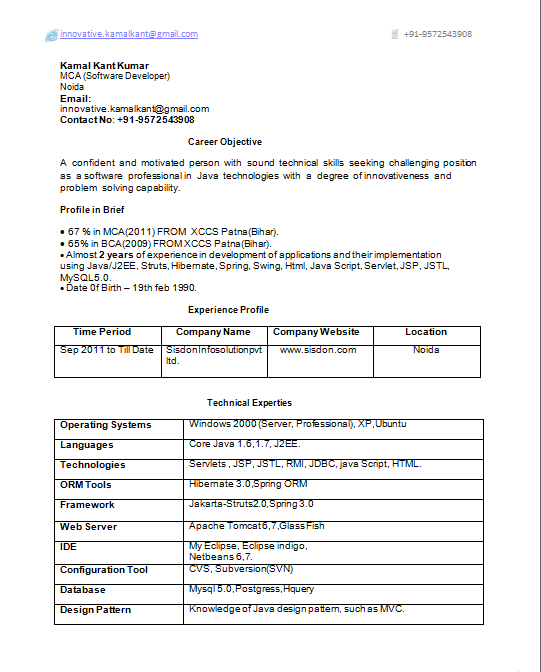 download java j2ee 2 years experience resume