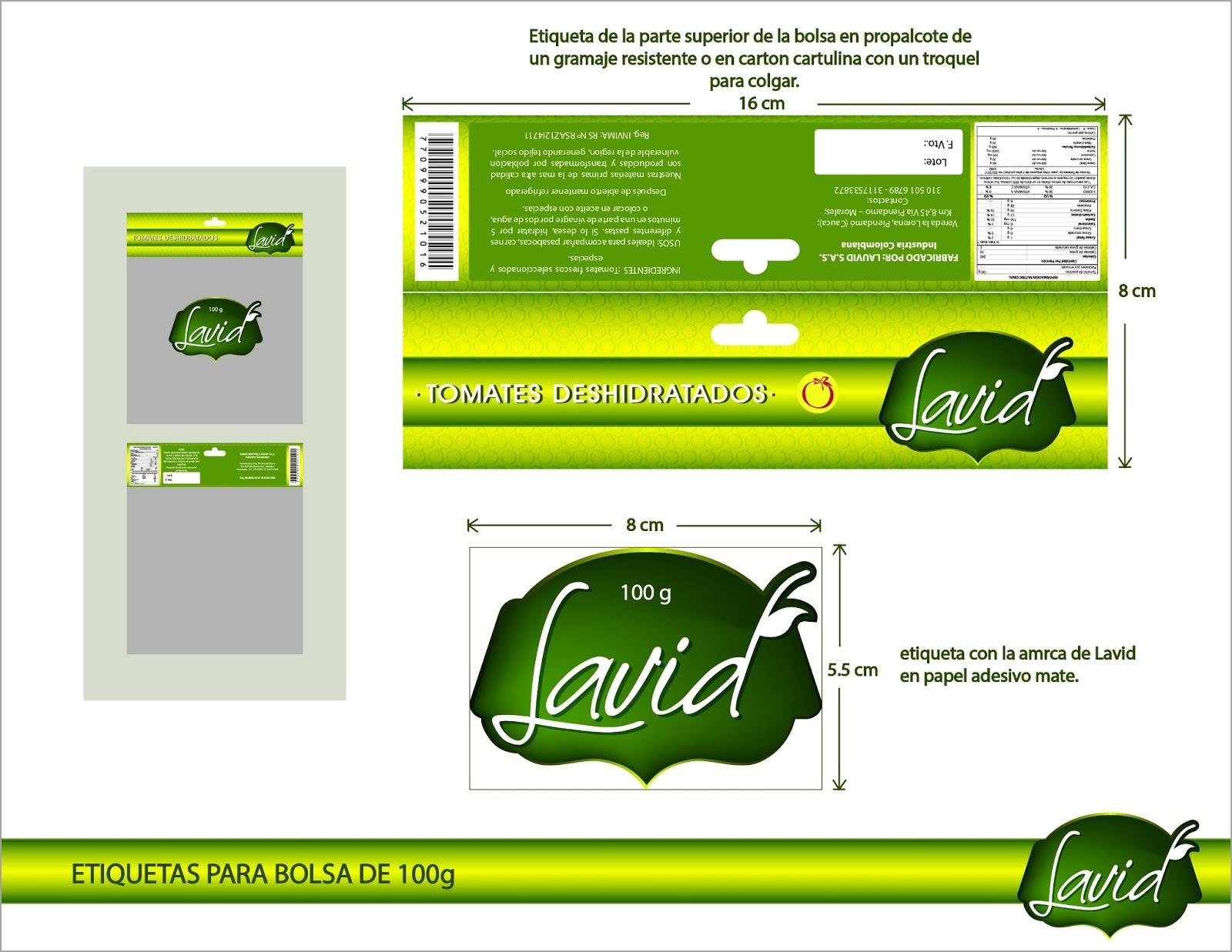 Angelatorres dise o de etiquetas cliente lavid productos for Diseno de etiquetas