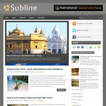 Subline blogger template. free blogspot template magazine style