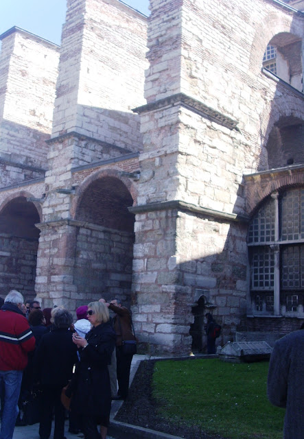 Waiting in line in front of the walls of Hagia Sophia Museum