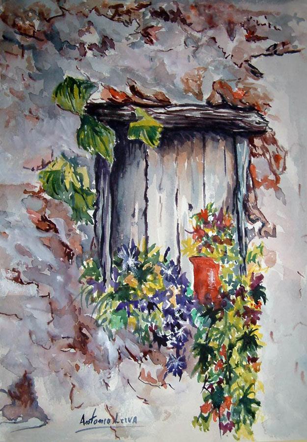 Blog acuarelas antonio leiva ventana for Pintura para marcos de puertas y ventanas