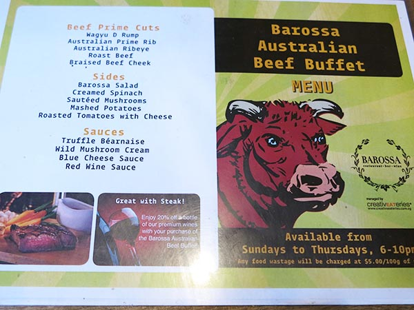 Beef Buffet at Barossa Menu