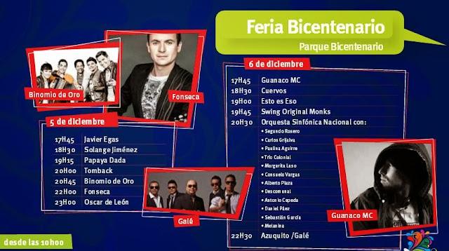 Eventos Artistas Parque Bicentenario Fiestas de Quito