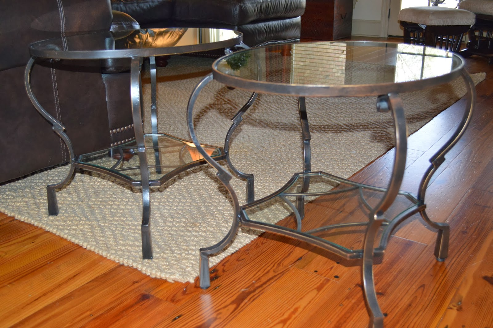 Moving Sale Set Of 2 Iron Amp Glass Top Chasca End Tables