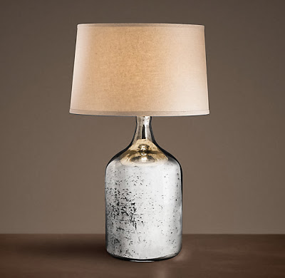 Restoration Hardware 19th Century Vintage Mercury Glass Short Table Lamp