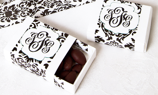 Here We Created Damask Favor Boxes In The Shape Of Matchbox Favors Filled With Chocolate Dipped Espresso Beans