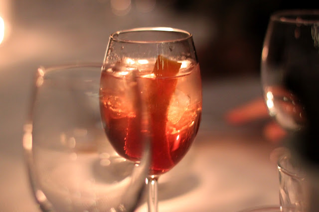 A sbagliato made with prosecco and campari