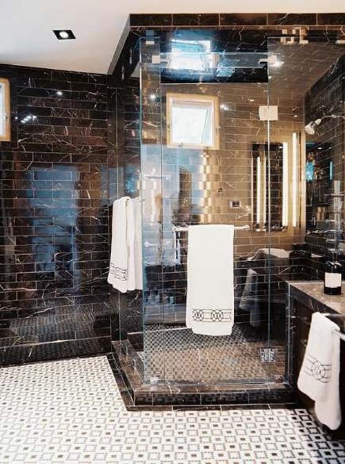 Black Marble Subway Tile Bathroom Bathroom Pinterest