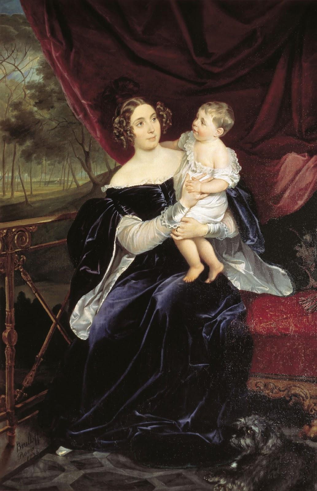 Karl   riullov  Portrait  of  the  Princess  Olga  Ivanovna  Orlova Davydova  with  Daughter  Natalya  Vladimirovna C