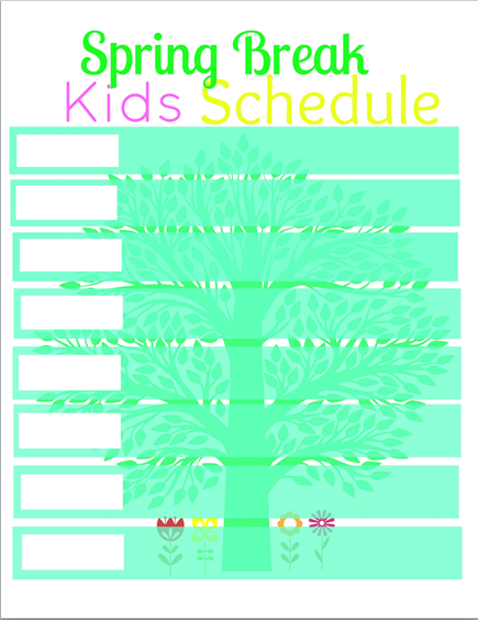 spring break kid schedule printable