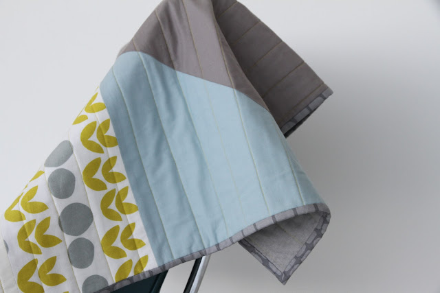 modern light blue, citron, and grey quilt | by Lovely and Enough